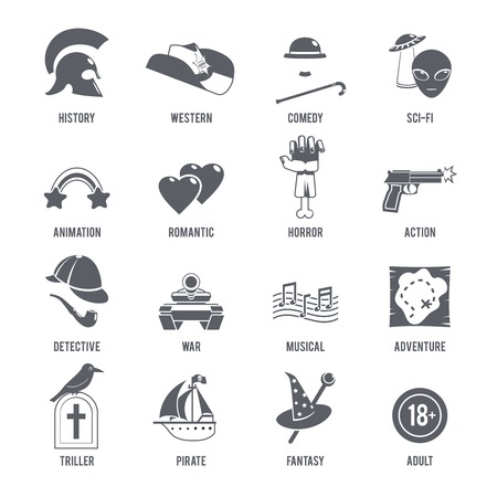history icon: Film genres icons black set with history western comedy sci-fi symbols isolated vector illustration