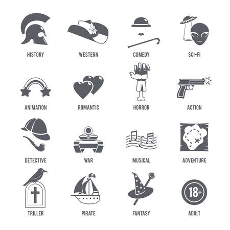 Géneros cinematográficos iconos conjunto negro con la historia de la comedia occidental símbolos de ciencia ficción ilustración vectorial aislado Foto de archivo - 41537400