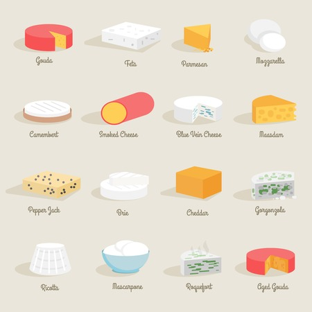 cheese: Delicious fresh cheese variety icon flat set isolated vector illustration