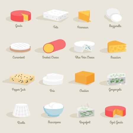 queso: Fresco icono de variedad de queso conjunto plana delicioso aislado ilustraci�n vectorial