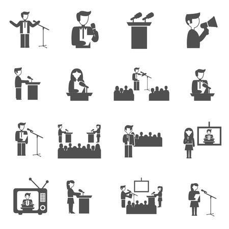 Public speaking seminar and presentation black icons set isolated vector illustration