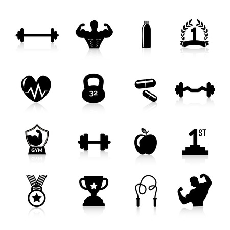 workout: Bodybuilding sport and fitness training workout icons black set isolated vector illustration