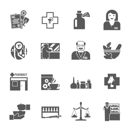 apothecary: Pharmacy chemist shop black icons set with cross asclepius medical symbols and apothecary abstract  isolated vector illustration Illustration