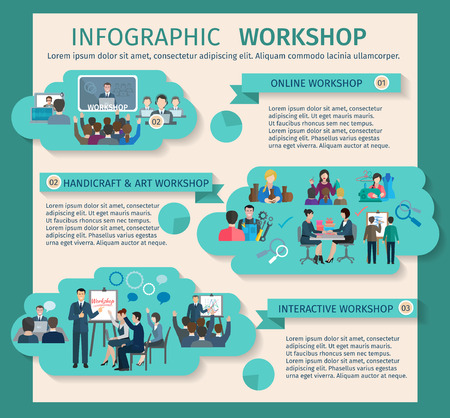 workshop seminar: Workshop infographics set with art business and handicraft elements vector illustration
