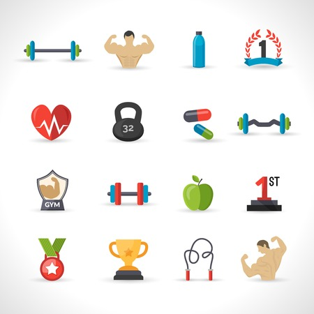 flat iron: Bodybuilding icons flat set with barbell bodybuilder iron isolated vector illustration