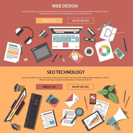 banner orizzontale Web impostate con elementi piani di tecnologia SEO illustrazione vettoriale isolato