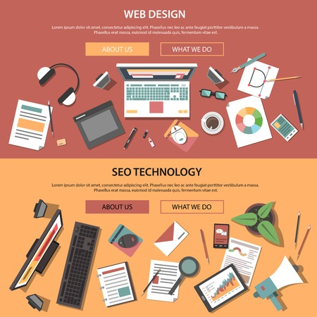 set design: Web horizontal banners set with seo technology flat elements isolated vector illustration
