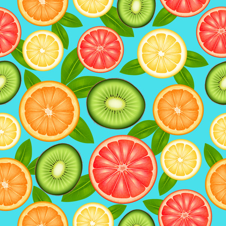 limon: Fruit seamless pattern with cut top view citrus and kiwi vector illustration Illustration