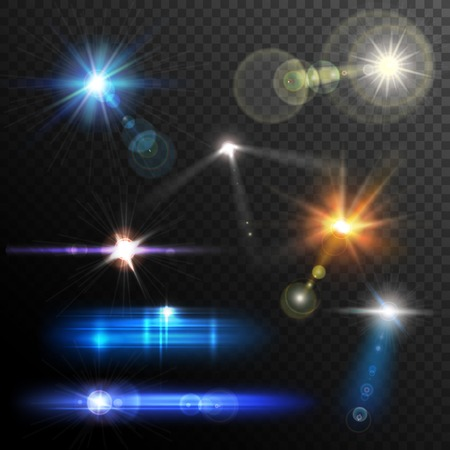 light rays: Realistic lens flares beams and flashes on transparent background vector illustration