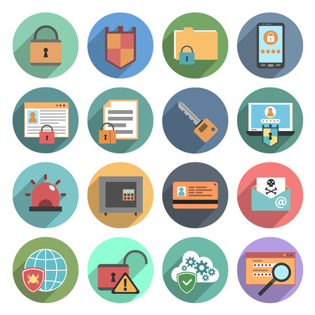 virus: Internet technology computer protection software service flat icons set with safety symbols abstract round  isolated vector illustration
