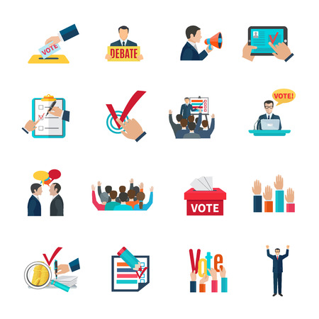 list of successful candidates: Elections with voting debates and agitation icons set flat isolated vector illustration Illustration