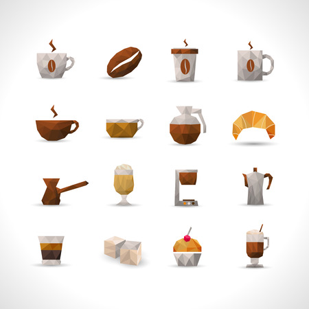 glasse: Coffee brown with shadows polygonal icons set isolated vector illustration Illustration