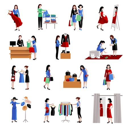 Woman in shopping center buying fashion goods icons set isolated vector illustration 向量圖像