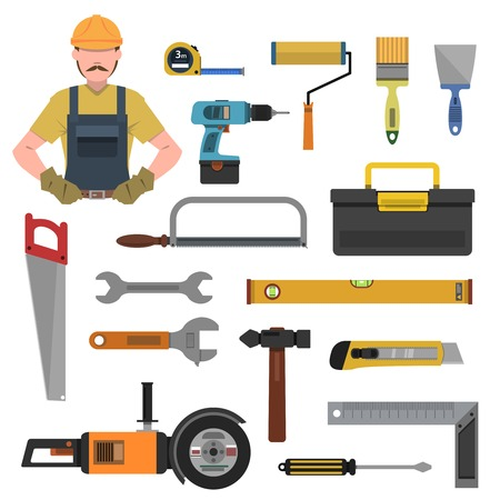 hammer drill: Tools flat icons set with toolbox hammer drill isolated vector illustration