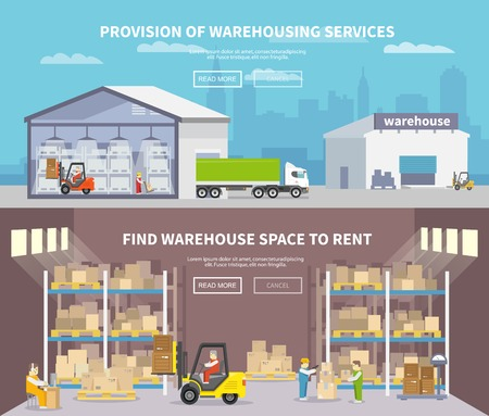 warehouse storage: Warehouse banner set with shipping and delivery flat elements isolated vector illustration