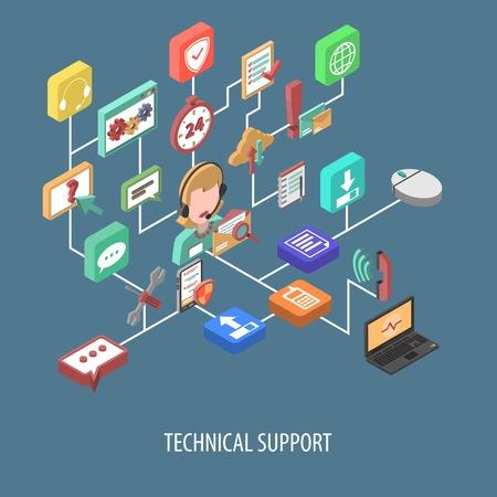 Apoyar concepto diagrama de flujo isométrica con persona de servicio 3d y los iconos de comunicación técnica ilustración vectorial