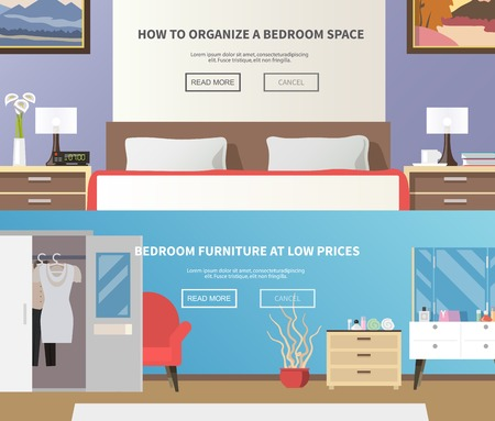 modern furniture: Bedroom furniture horizontal banner set with flat interior elements isolated vector illustration