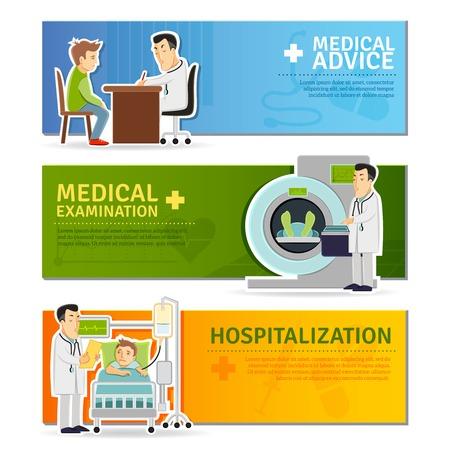 hospitalisation: Banni�res horizontales m�dicales d�finies avec l'examen de conseil et d'hospitalisation �l�ments isol�s illustration vectorielle