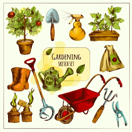sprouts: Gardening tools sketch set colored with shovel spray rubber boots isolated vector illustration Illustration