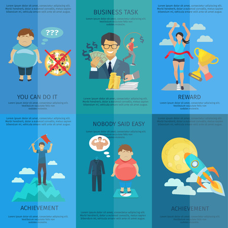 goals: Vintage motivation mini poster set with business task achievement and reward isolated vector illustration