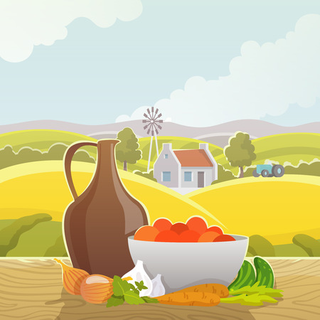 windowsill: Rural country autumn landscape design picture of fields hills and mountains with harvested vegetables abstract vector illustration