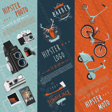 hairstyling: To be hip concept flat banners set with hipster motor logo and photo pictograms abstract vector illustration