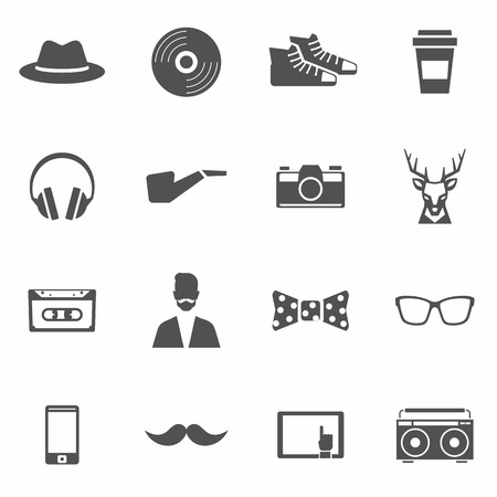 pipe smoking: Hipster black icons mit Kopfh�rern Pfeife Kamera isoliert Vektor-Illustration festgelegt