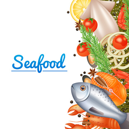 gourmet illustration: Seafood menu background with fish steak lobster and spices vector illustration