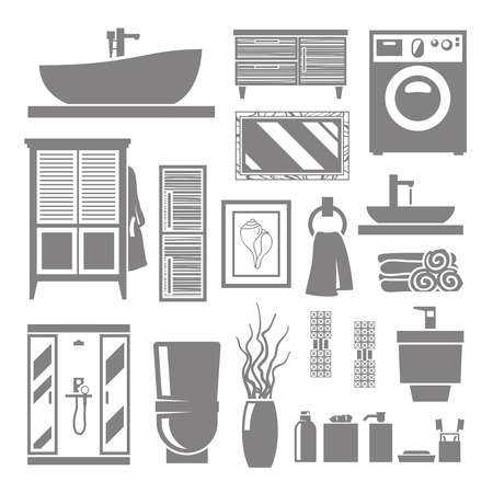toilet brush: Bathroom furniture and hygiene objects grey flat icons set isolated vector illustration