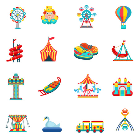 amusement park rides: Amusement park for children with attractions and fun icons set flat isolated vector illustration Illustration