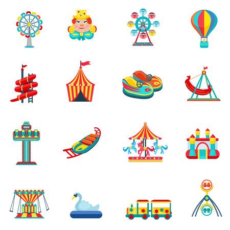 Parc d'attractions pour les enfants avec des attractions et des icônes amusantes mis plat isolé illustration vectorielle