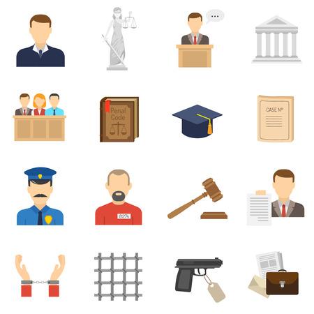 testigo: Caso criminal proceder iconos planos establece con la justicia dama y dar testimonio pruebas abstracto aislado ilustraci�n vectorial