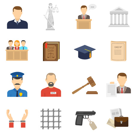 witness: Criminal case proceeding flat icons set with lady justice and giving evidence witness abstract isolated vector illustration Illustration