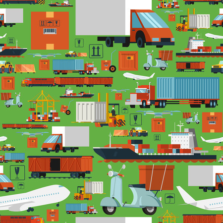 logistics: International logistic transportation and delivery operations company with offices worldwide seamless background tileable pattern abstract vector illustration