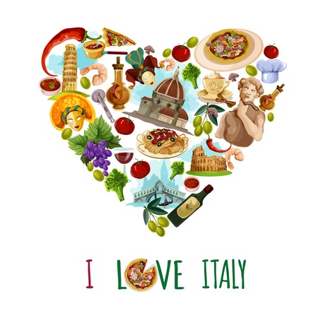 food and wine: Italy poster with cartoon touristic landmarks in heart shape vector illustration