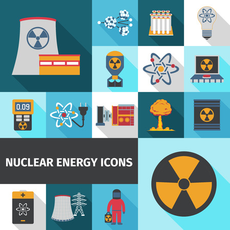 geiger: Nuclear energy contribution in global electricity supply flat icons set with radioactivity sign abstract isolated vector illustration