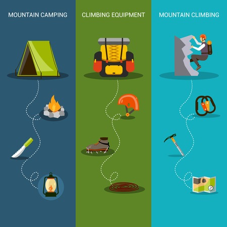alpinism: Climbing banner vertical set with mountain camping equipment elements isolated vector illustration