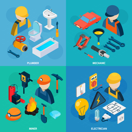 tools icon: Plumber mechanic electric and miner profession man with tools isometric icons set isolated vector illustration Illustration