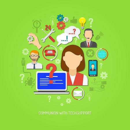 Tech support concept with flat operator portrait and problem solving icons vector illustration Vectores