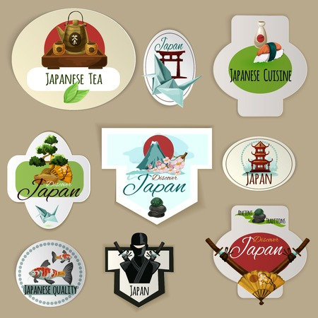 Japan culture nature and cuisine paper emblems set isolated vector illustration Vector
