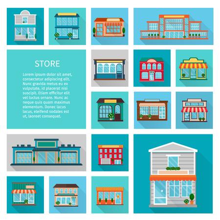 centro comercial: Ir de compras en tiendas de edificios con ventanas y árboles grandes iconos establecidos plana sombra aislada ilustración vectorial Vectores