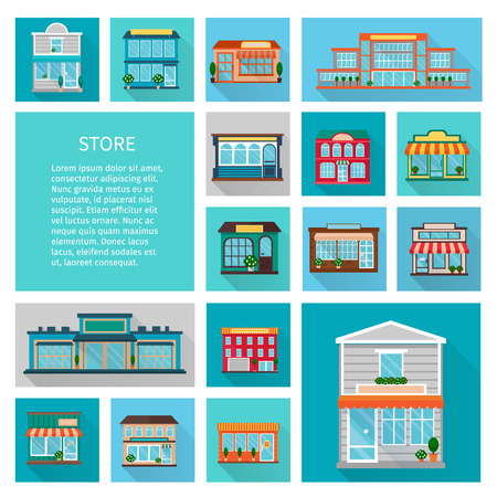flower boxes: Shopping in stores buildings  with big windows and trees icons set flat shadow isolated vector illustration