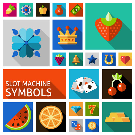 reckless: Slot machine symbols such as cards horseshoe strawberry crown flat shadow icons set isolated vector illustration