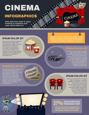 film director: Cinema infographics set with movie and film symbols vector illustration