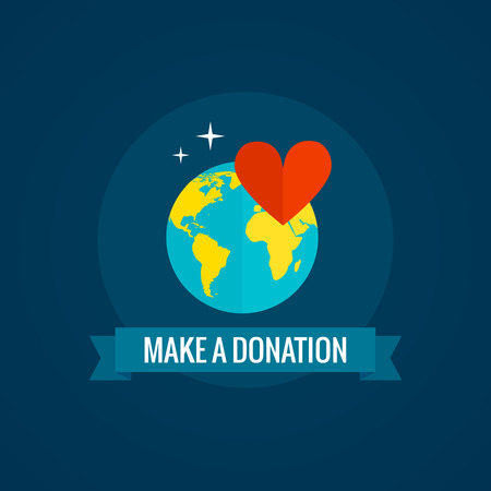 Charity and donations icon with globe heart and ribbon on blue background flat vector illustration