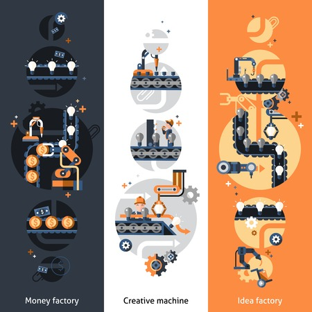 factory workers: Business conveyor vertical banners set with money idea factory creative machine flat elements isolated vector illustration