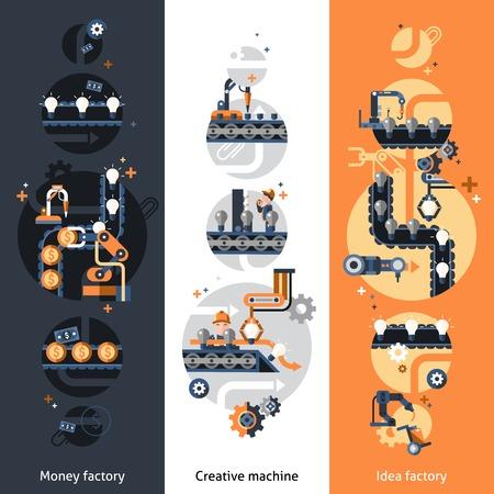 fliesband: Wirtschaftsf�rderer vertikalen Banner mit Geld Ideenfabrik kreative Maschine flachen Elementen getrennt Vektor-Illustration festgelegt