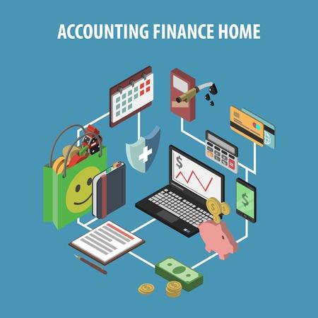 contabilidad financiera: Banco de Inicio y el concepto de finanzas personales con la contabilidad isométrica e inversiones iconos ilustración vectorial