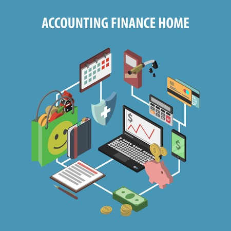 Home bank and personal finance concept with isometric accounting and investments icons vector illustration Illustration