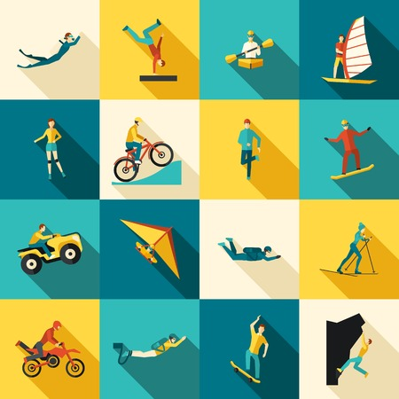 Extreme sports flat long shadow icons set isolated vector illustration